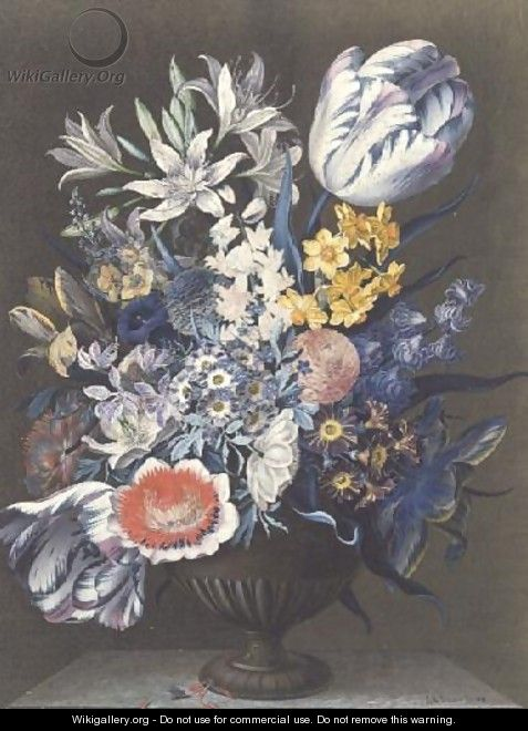 Urn with Flowers on a Marble Table - J.A. Simson