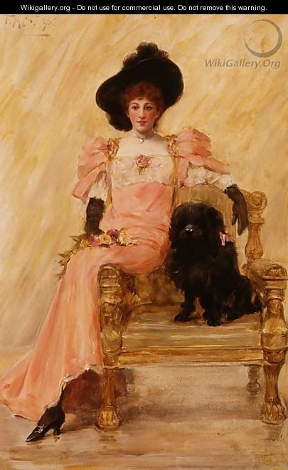 Portrait of a Lady with her Dog - Frank Markham Skipworth