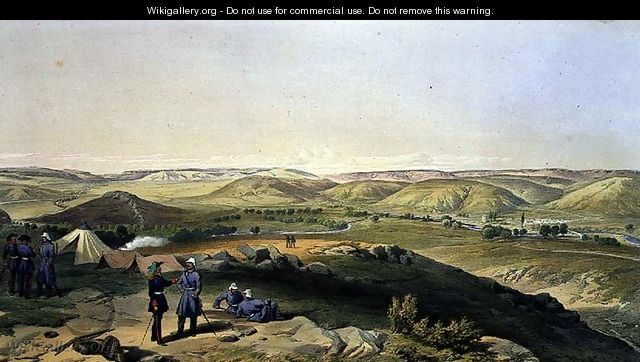 Valley of the Tchernaya, plate from The Seat of War in the East, pub. by Paul and Dominic Colnaghi and Co., 1856 - William Simpson