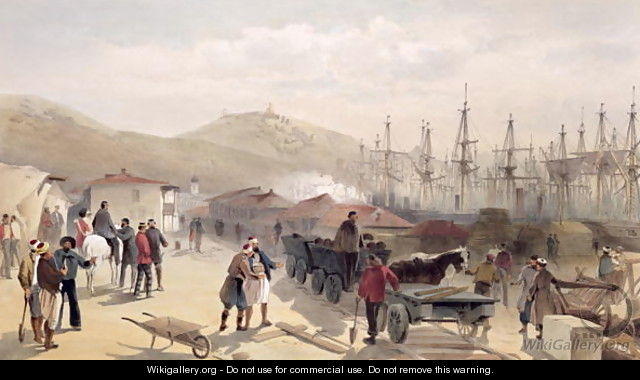 The Railway at Balaklava, plate from The Seat of War in the East, 1856 - William Simpson