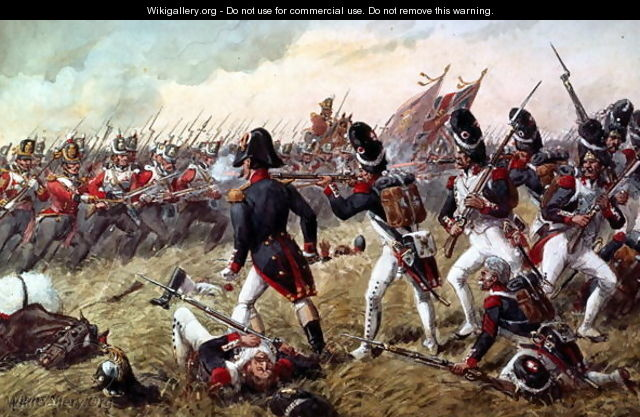 The 3rd Regiment of Foot Guards repulsing the final charge of the old Guard at the Battle of Waterloo, 18th June 1815 - Richard Simkin