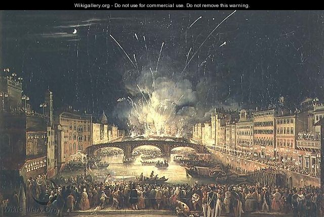 Fireworks over the River Arno - Giovanni Signorini