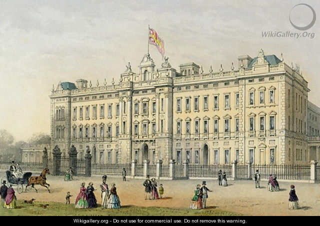 Buckingham Palace, engraved by Bachelier, pub. 1854 - Thomas Hosmer Shepherd