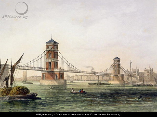 View of Hungerford Bridge from the East, engraved by Jean Jacottet 1806-c.43 1854 - Thomas Hosmer Shepherd