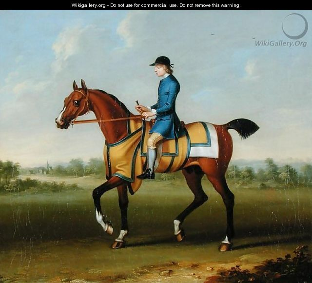 A Bay Racehorse with Jockey Up - James Seymour