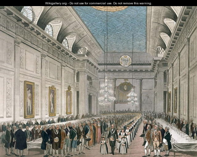 The Procession at Freemasons Hall, Queen Street, on the occasion of the Annual Dinner for young girls assisted by the Order, from Ackermanns Microcosm of London - Joseph Constantine Stadler