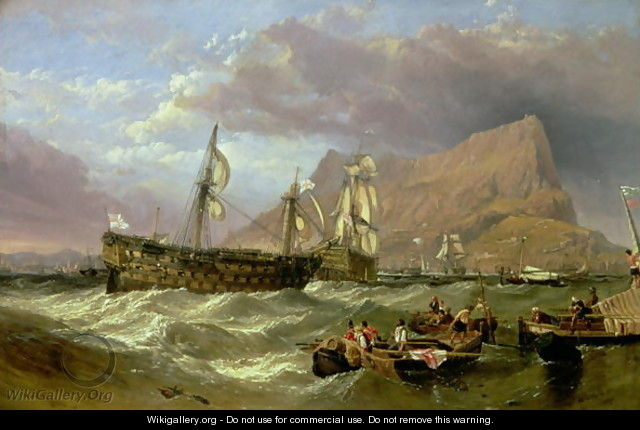 The Victory Towed into Gibraltar, 1854 - William Clarkson Stanfield