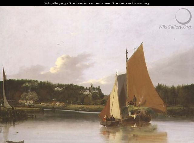 Boats on the Yare near Bramenton, Norfolk, 1828 - Joseph Stannard