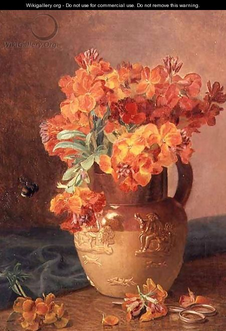 A Still Life with Wallflowers in a Stoneware Jug - Eloise Harriet Stannard