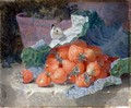 Strawberries in a Cabbage Leaf with a Flower Pot Behind, 1881 - Eloise Harriet Stannard