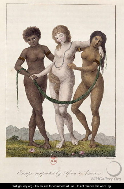 Europe Supported by Africa and America, from Narrative of a Five Years Expedition against the Revolted Negroes of Surinam 1772-77, engraved by William Blake 1757-1827, published 1796 - John Gabriel Stedman