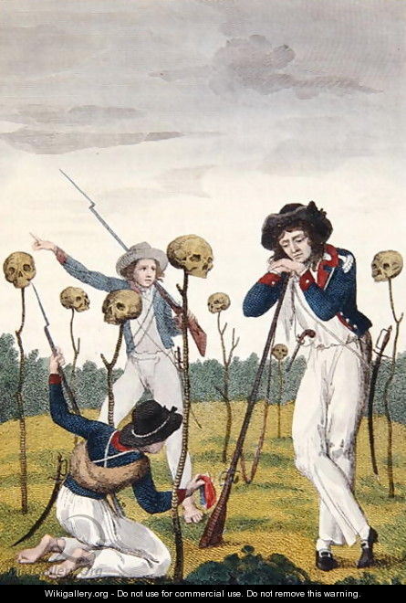 The Skulls of Lieutenant Leppar and six of his men, from Narrative of a Five Years Expedition against the Revolted Negroes of Surinam, by J.G. Stedman, 1796 - John Gabriel Stedman