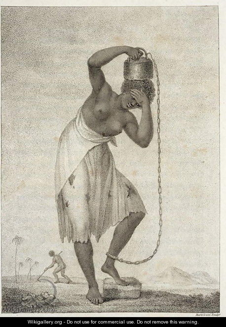 A Female Negro Slave, with a Weight chained to her ankle, from Narrative of a Five Years Expedition against the Revolted Negroes of Surinam, in Guiana, on the Wild Coast of South America, from the year 1772 to 1777, engraved by Francesco Bartolozzi - John Gabriel Stedman