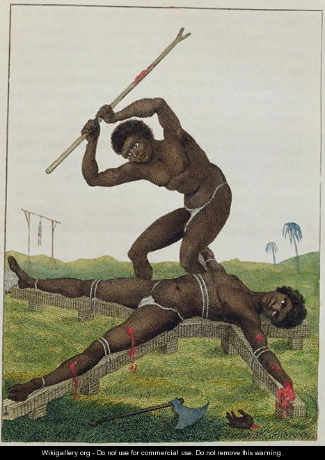 The Execution of Breaking on the Rack, 1793, from Narrative of a Five Years Expedition against the Revolted Negroes of Surinam 1772-77, published 1813 - John Gabriel Stedman