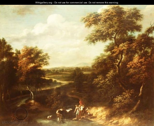 An extensive wooded landscape with a herdsman and a peasant girl - Jan Philip Spalthof