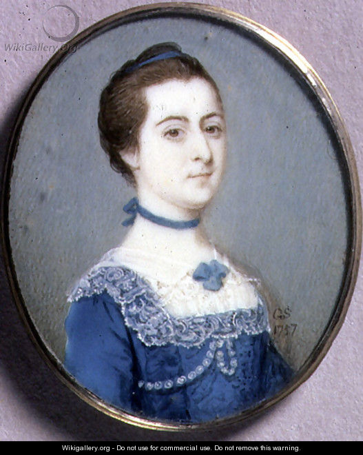 Portrait Miniature of a Lady in a Blue Dress, 1757 - Gervase Spencer