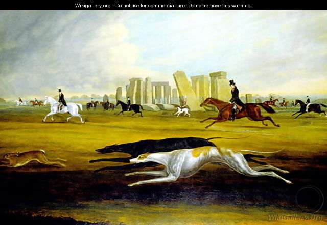 The Pinckney Family Coursing at Stonehenge, 1845 - Samuel Spode