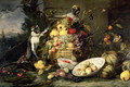 Three Monkeys Stealing Fruit - Frans Snyders