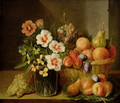 Still life of flowers in a vase and fruit in a basket - Pieter Snyers