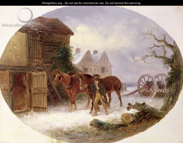 Boy leading horses to a barn in the snow - Thomas Smythe