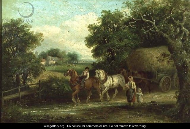 The Haycart Crossing the Ford in Summer - Thomas Smythe