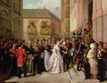 Isabella II of Spain 1830-1904 and her husband Francisco de Assisi visiting the Church of Santa Maria - Ramon Soldevila Trepat