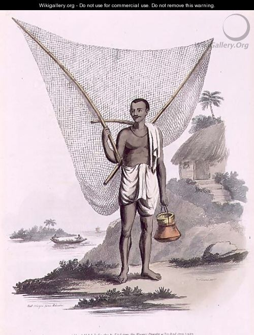 An Indian Fisherman, engraved by Thomas Vivares c.1735-90 pub. by Edward Orme, 1804 - (after) Solvyns, Franz Balthazar