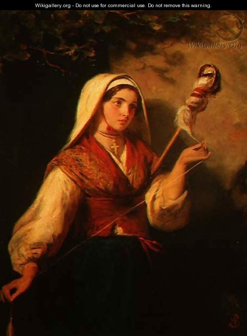 Young Woman Spinning Wool - Abraham Solomon