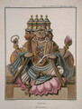 Brahma, Hindu god of creation, from Voyage aux Indes et a la Chine by Pierre Sonnerat, engraved by Poisson, published 1782 - (after) Sonnerat, Pierre