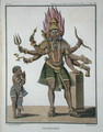 Shiva as Virapatren, Lord with the ill-formed Evil Eye, from Voyage aux Indes et a la Chine by Pierre Sonnerat, engraved by Poisson, published 1782 - (after) Sonnerat, Pierre