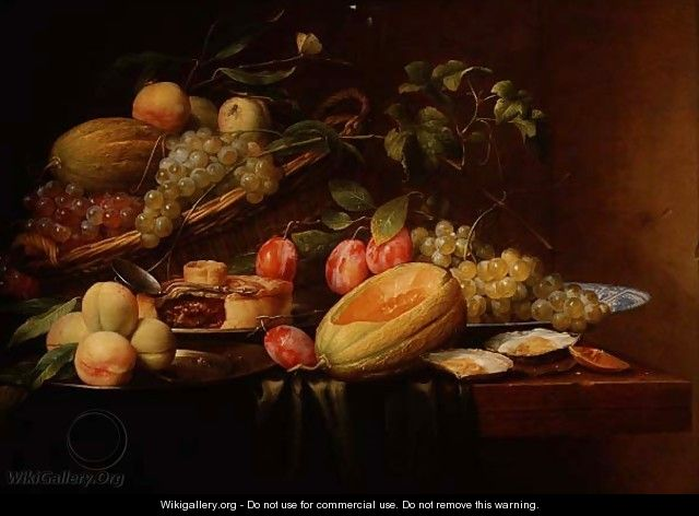 Still Life of Fruit, Oysters and a Pie - Joris Van Son