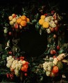 Garland of fruit around an empty niche - Jan Frans van Son