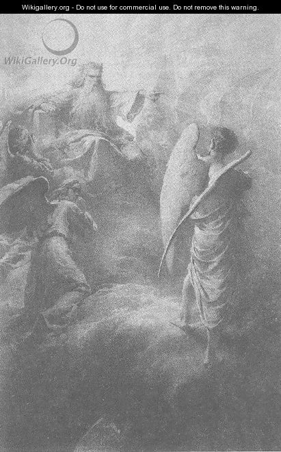 Illustration to Imre Madachs The Tragedy of Man- In the Heaven Scene 1 1887 - Mihaly von Zichy