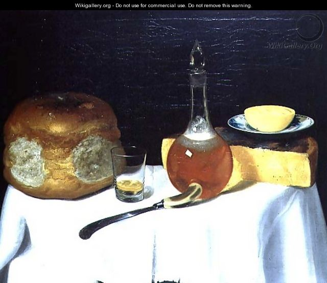 Still life with bread and cheese - George, of Chichester Smith
