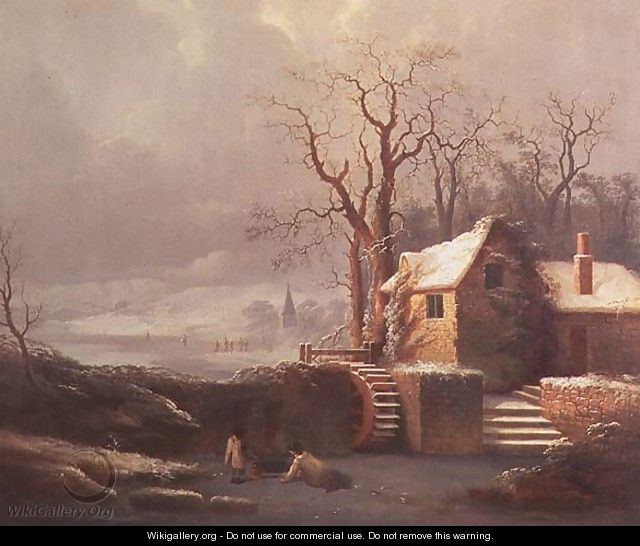 Snow Scene with Mill and Cottages - George, of Chichester Smith