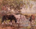 Horses at a Pool - George Smith
