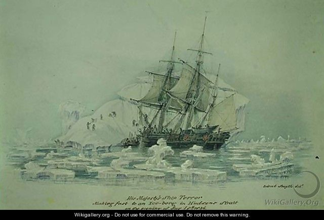 Incidents on a Trading Journey- HMS Terror Making Fast to an Iceberg in Hudsons Strait, August 18th 1836 - Lieutenant Smyth