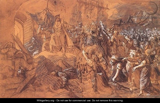 Zrinyis Charge from the Fortress of Szigetvar before 1884 - Bertalan Szekely