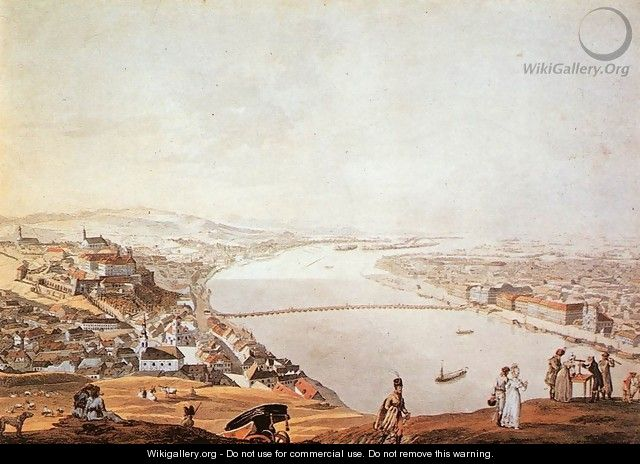 View of Pest-Buda from the Gellerthegy 1817 - Andras Petrich