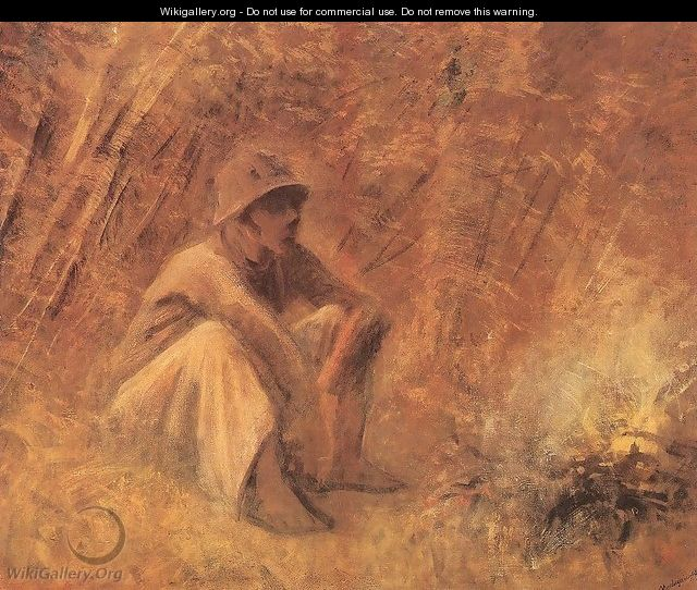 Peasant Resting by the Fire c. 1913 - Laszlo Mednyanszky