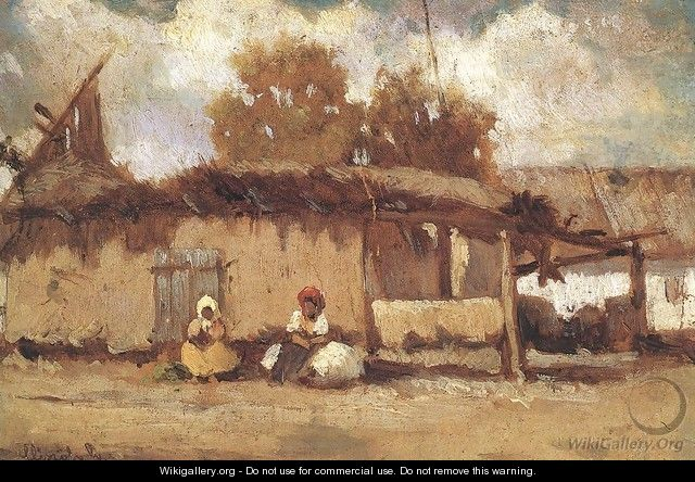 In Front of a Peasant House c. 1885 - Geza Meszoly