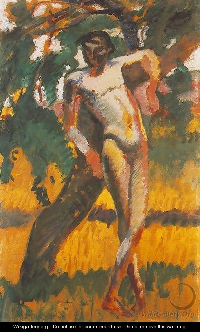 Nude Boy Leaning against a Tree 1911 - Karoly Kernstok