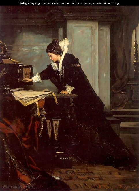 Queen Elisabeth Signs the Condemnation to Death to Mary Stuart 1879 - Sandor Liezen-Mayer