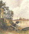 Regensburg View of the River Bank 1849 - Karoly Lajos Libay