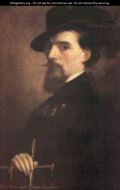 Self-portrait with Kossuth-hat 1850 - Mihaly Kovacs