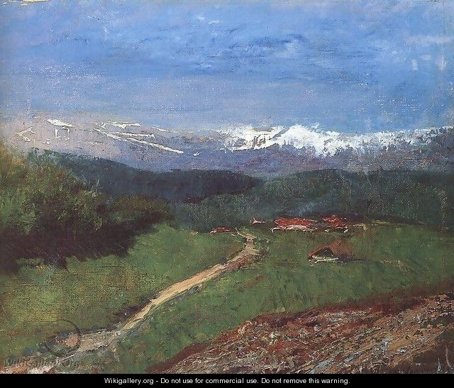 Landscape in the Alps View from the Rax c. 1900 - Laszlo Mednyanszky