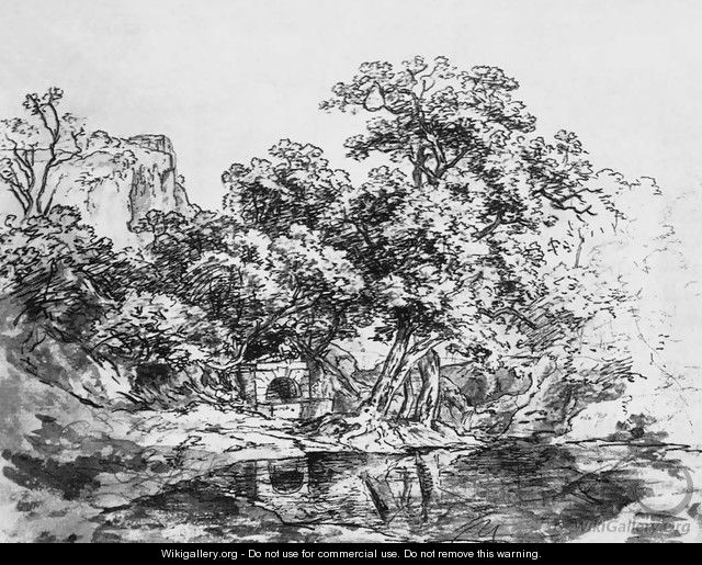 Landscape Sketch with a Lake - Károly, the Elder Markó