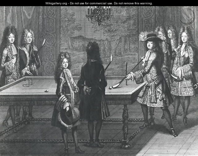 Louis XIV 1638-1715 playing billiards with Philippe I (1640-1701) Duke of Orleans, the Count of Toulouse, the Duke of Vendome, Monsieur dArmagnac and Monsieur de Chamillard, 1694 - Antoine Trouvain
