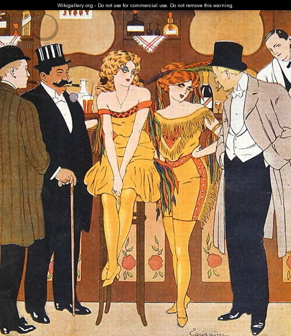 Caricature of prostitutes with their clients, from Le Rire, 1901 - Edouard Touraine