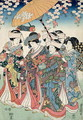 Young Woman with Five Attendants, 1850 - Toyokuni